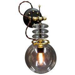 "Art Donovan ""Tesla Wall Light"" Globe Glass, Brass, Maple. Black and Gold."