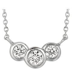 0.50 Carat Natural 3-Stone Diamond Bezel Necklace 14 Karat White Gold G SI