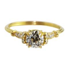 0.56 Carat Old Mine Cut Diamond 18 Karat Yellow Gold Newdwardian Ring