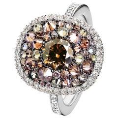 0.80 Ct. Argyle Certified Brown Diamond, 1.50 Ct. Pink Yellow White Diamond Ring