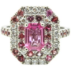 0.82 Carat Pink Sapphire Diamond Double Halo 18 Carat White Gold Engagement Ring
