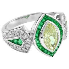 1 Carat Fancy Diamond Emerald Diamond 18 Karat White Gold Ring