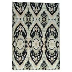 100 Percent Wool Ikat Uzbek Design Hand Knotted Oriental Rug