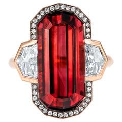 10.41 Carat Decagonal Rubellite Diamond Cocktail Ring in 18 Karat Red Gold