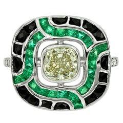 1.05 Carat Fancy Diamond Emerald Onyx Diamond 18 Karat White Gold Ring
