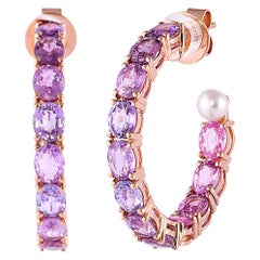10.51 Carat Purple Sapphire Earring in 18 Karat Rose Gold with Pearls