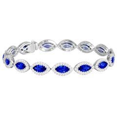 10.68 Carat Ceylon Sapphire and Diamond Tennis Bracelet in 18 Karat White Gold