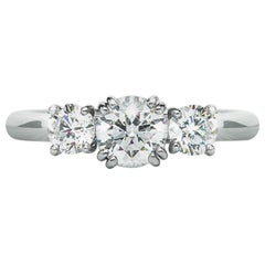 1.13 Carat E SI2 Round 3 Diamond Claw Set Ring Platinum Natalie Barney