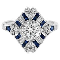 1.19 Carat Diamond Sapphire Diamond 18 Karat White Gold Ring