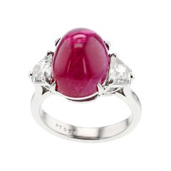 12 Carat Certified Natural Burma No Heat Ruby Diamond Platinum Three-Stone Ring