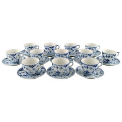 12 Royal Copenhagen Blue Fluted Half Lace Coffee Cups with Saucers, Number 1/756