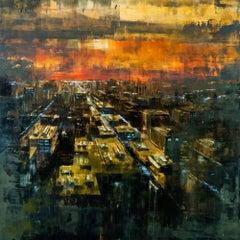 New York sunrise III, Painting, Oil on Wood Panel