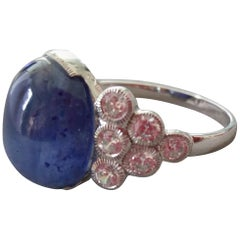 13 Carat Blue Sapphire Oval Cabochon Gold Full Cut Round Diamonds Cocktail Ring
