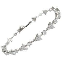 1.33 Carat GVS Diamond Triangles Tennis Bracelet in 18 Karat White Gold