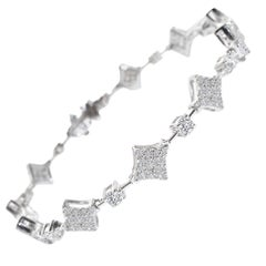1.38 Carat GVS Diamond Squares Tennis Bracelet in 18 Karat White Gold