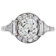 1.39 Carat Old European Cut Diamond Platinum Engagement Ring