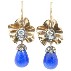 14 Carat Rose Gold and Silver Blue Briolette Enamel and Diamond Earrings