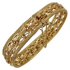 Mesh Bracelet-Finely Woven 14k Yellow Gold-1950s