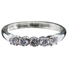 14 Karat White Gold 5-Stone Diamond Ring .50pts