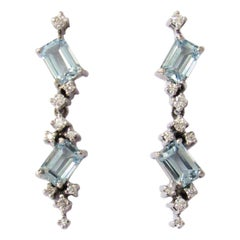 14 Karat White Gold Sky Blue Topaz and Diamonds Earrings