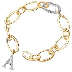 14 Karat Yellow Gold and Diamond Bracelet