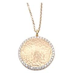 14 Karat Yellow Gold Hammered Diamond Disc Necklace