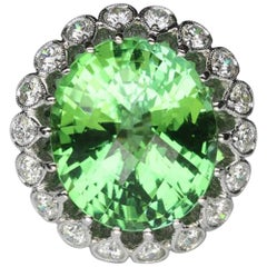 14.36 Carat Paraiba Tourmaline and Diamond Gold Ring Estate Fine Jewelry