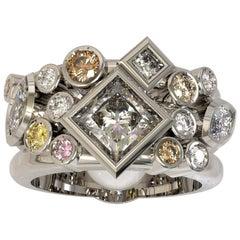 1.45 Carat Princess Cut Marquise Round Brilliant Cut Diamond Engagement Ring
