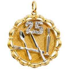 14 Karat Yellow/White Gold 25th Anniversary 'Silverware' Charm