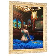 "Douglas Hofmann Oil on Board Painting ""Stormey's Den"" Asian Feel"