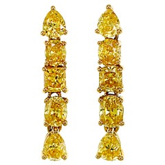 1.52 Carat Fancy Vivid Yellow Diamond Dangle Earring