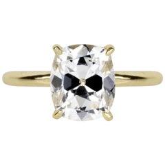 1.55 Carat Certified G Si2 Old Mine Cut Diamond Elongated Cushion Cut Ring