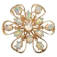 1.55 Carat Opal Yellow Gold Brooch Pendant