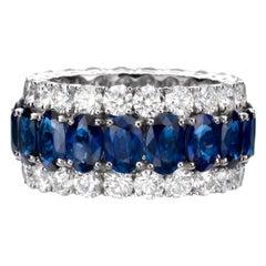 15.80 Carat Oval Sapphire Diamond 18 Karat White Gold Eternity Band Ring