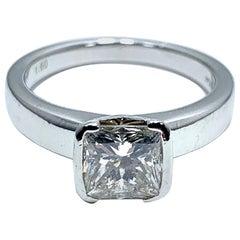 1.60 Carat Princess Cut Diamond and Platinum Engagement Ring