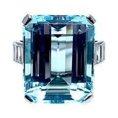 16.60 Carat Aquamarine and Emerald Cut Diamond White Gold Cocktail Ring