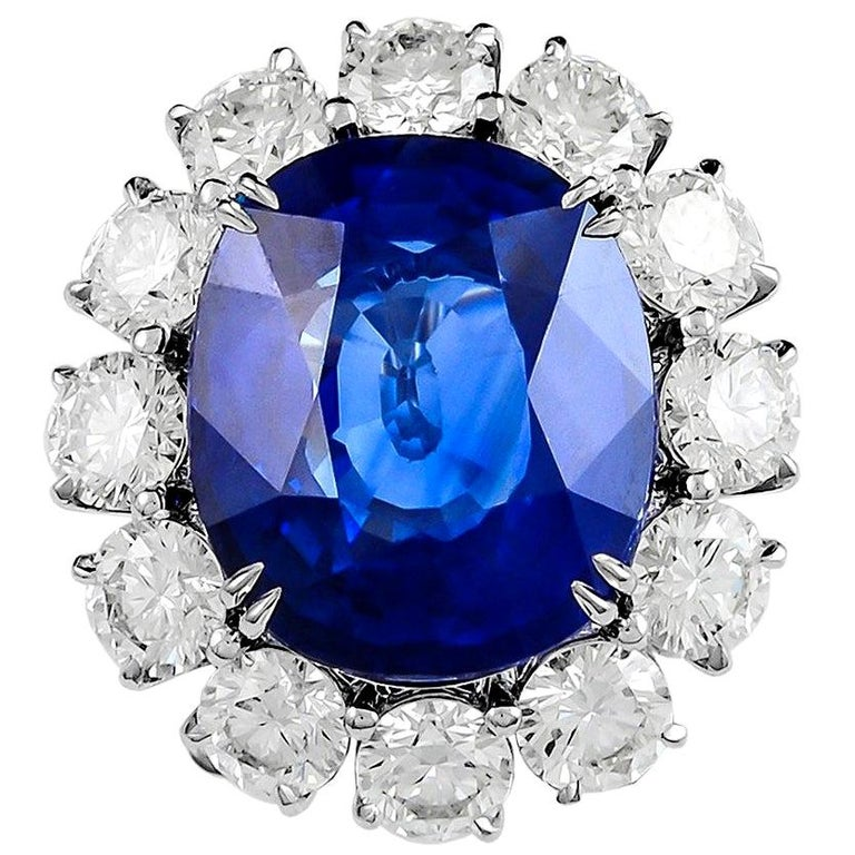 16.80 Carat Platinum Cushion Cut Sapphire and Diamond Engagement Ring For Sale
