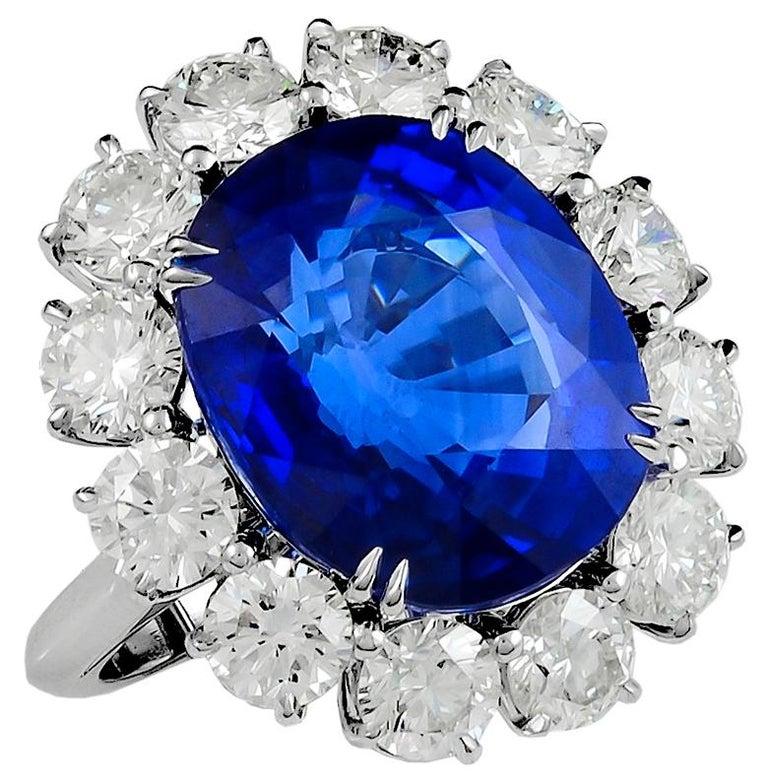 Women's 16.80 Carat Platinum Cushion Cut Sapphire and Diamond Engagement Ring For Sale
