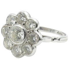 18 Carat White Gold High Level Diamond Large Daisy Ring