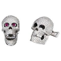 18 Carat White Gold Pave Diamond Skull Cufflinks with Ruby Eyes
