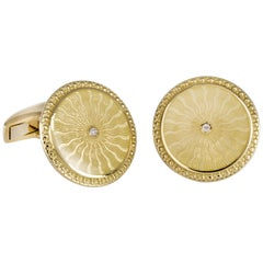 18 Carat Yellow Gold Round Cufflinks with Clear Enamel and Diamond Centre