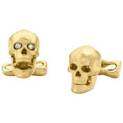 18 Carat Yellow Gold Skull Cufflinks with Popping Diamond Eyes