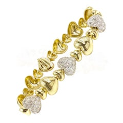 18 Karat Diamond Heart Link Bracelet by Sal Praschnik