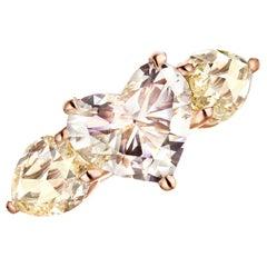 18 Karat Gold 2 Carat Heart Shape and 2.88 Carat Rose-Cut Diamond Trilogy Ring