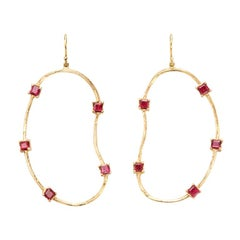 18 Karat Gold Oyster Earrings with 3.5 Carat Square Cut Rubies