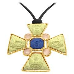 18 Karat Gold Vermeil Greek Mask Lava Cameo Necklace