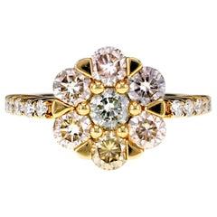18 Karat Gold with Natural Pink, Greenish Yellow and Yellow Diamond Ring