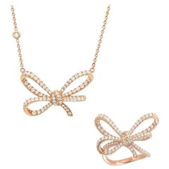 18 Karat Rose Gold and White Diamonds Cocktail Ring and Pendant