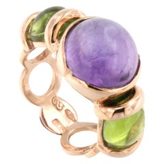 18 Karat Rose Gold with Amethyst and Peridot Ring