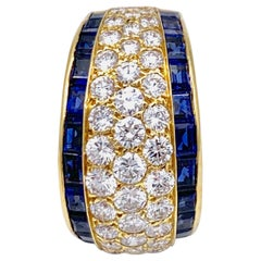 18 Karat VCA Paris Vintage Sapphire Diamond Gold Band Statement Ring